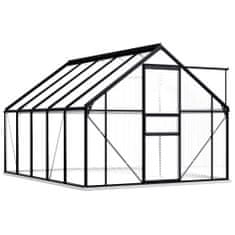 Petromila Skleník s podkladovým rámem antracitový hliník 5,89 m²